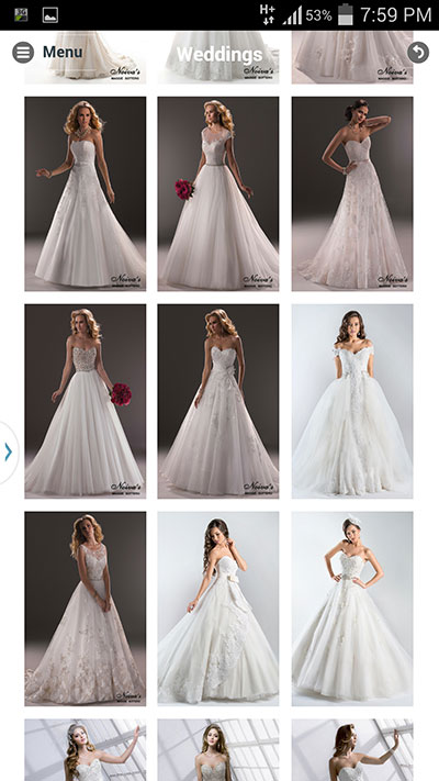 Mobile app for noivas wedding dresses
