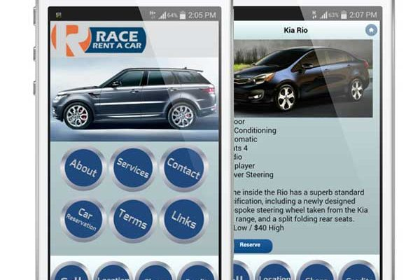 race rent a car mobile app with reservation & ecommerce