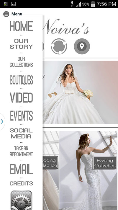 Mobile app for noivas wedding dresses